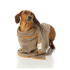 FuzzYard Microfibre Towel Brown With Orange Trim - Vanillapup Online Pet Store
