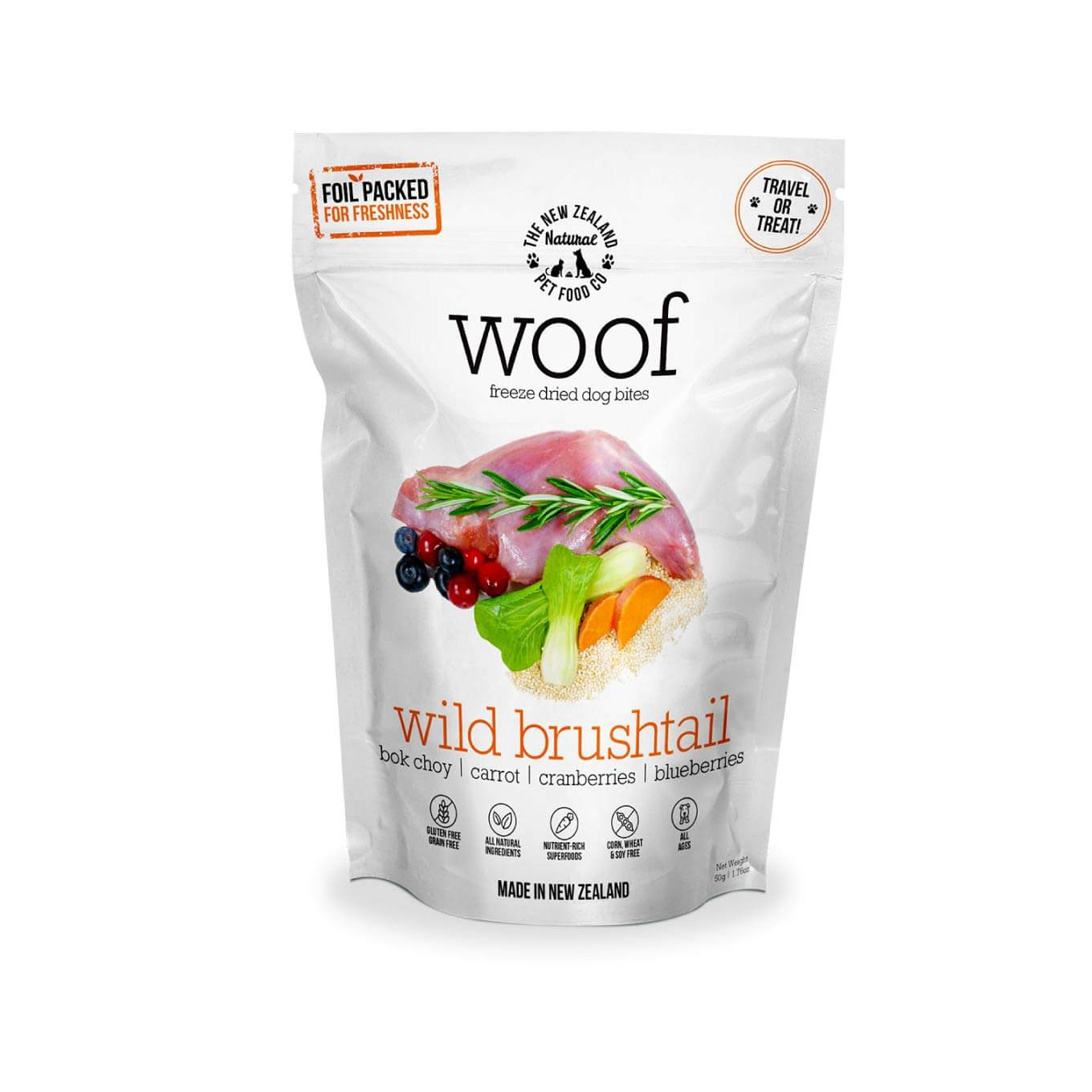 WOOF Wild Brushtail Freeze-dried Treats | 50g - Shop Vanillapup Online Pet Shop