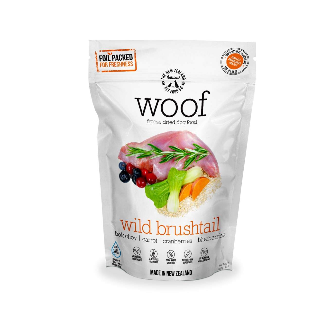 [Bundle Deal] WOOF Wild Brushtail Freeze-dried Dog | 320g/1.2kg Food - Vanillapup Online Pet Store
