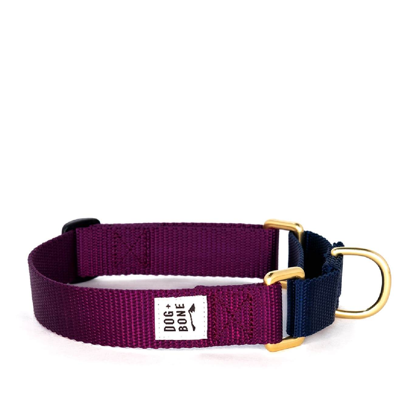 Dog + Bone Martingale Collar | Purple & Navy - Vanillapup Online Pet Shop
