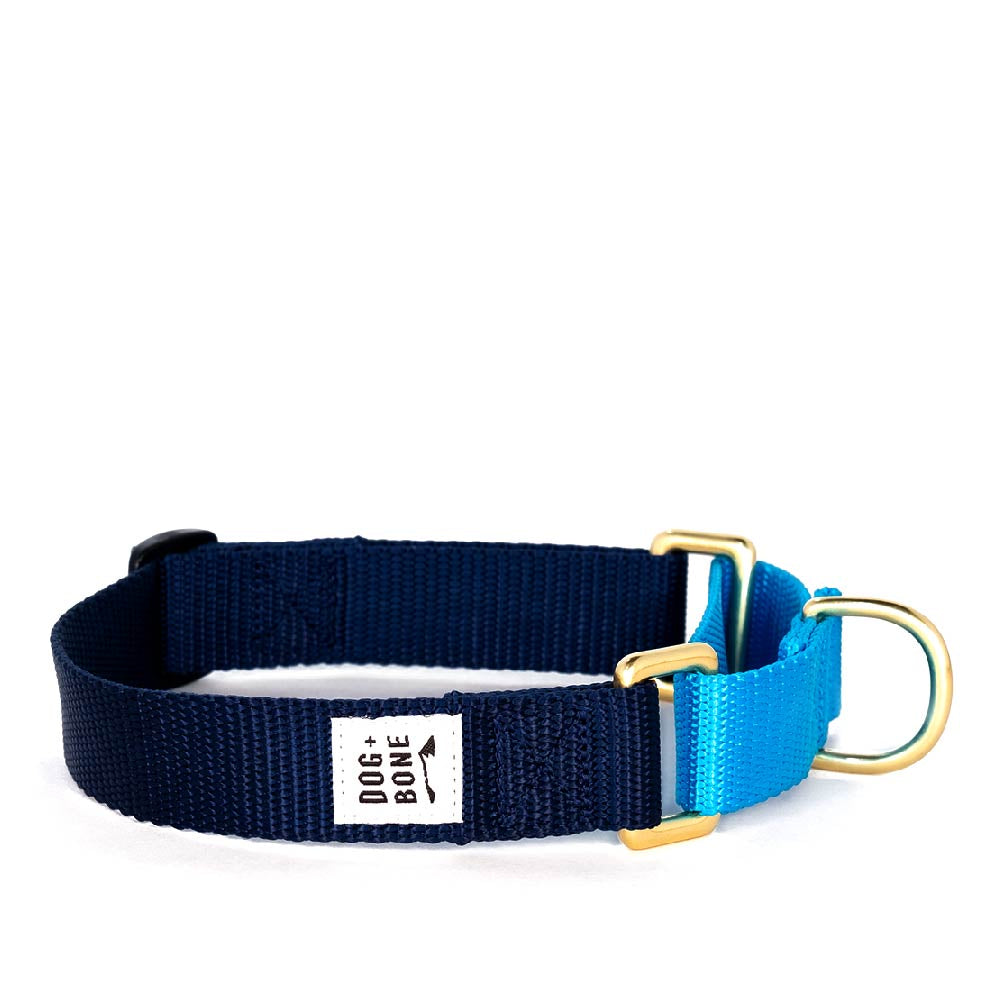 Dog + Bone Martingale Collar | Navy & Blue - Vanillapup Online Pet Store
