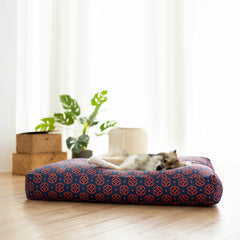 Ohpopdog Microbeads Pet Bed | Heritage Baba Navy 150 - Beds, Cats, Dogs, New, Ohpopdog - Vanillapup - Online Pet Shop