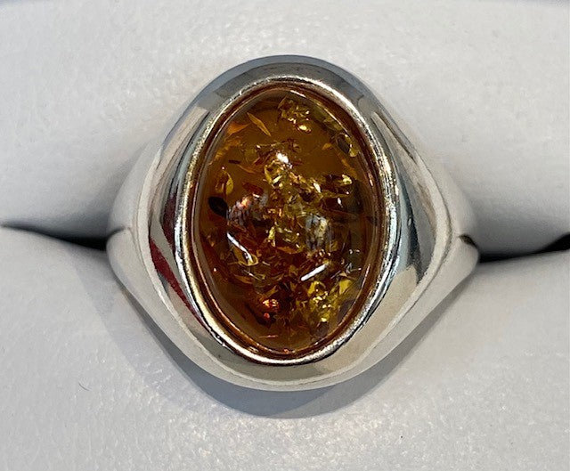 Sterling Silver Heavy Signet Style Oval Genuine Amber Bezel Set Ring