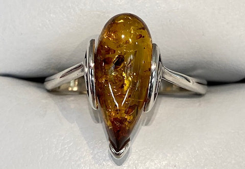 Sterling Silver Pear Shaped Genuine Amber Ring with Side Swirls