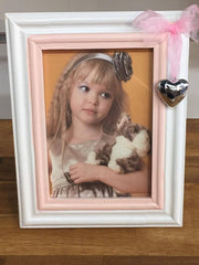 LARGE WHITE AND PINK WITH SILVER HEART FRAME