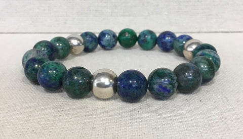 Chrysocolla Beaded Sterling Silver Bracelet G5310