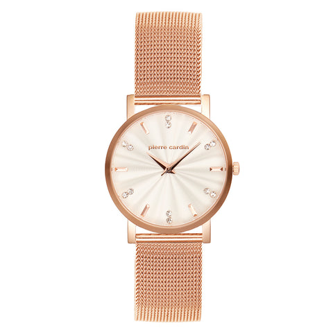 Pierre Cardin Rose Gold Mesh Band Patterned Cream Dial Watch
