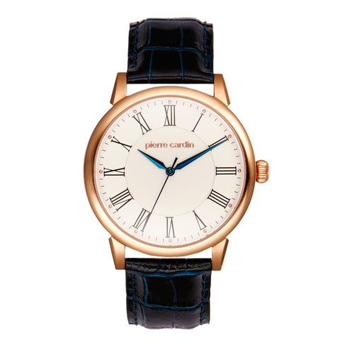 PIERRE CARDIN UNISEX ROSE GOLD WATCH WITH BLACK LEATHER BAND