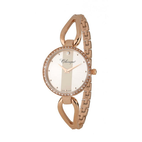 Ladies 33mm Rose Gold Plated All Stainless Steel Half Bangle Swiss Quartz Watch