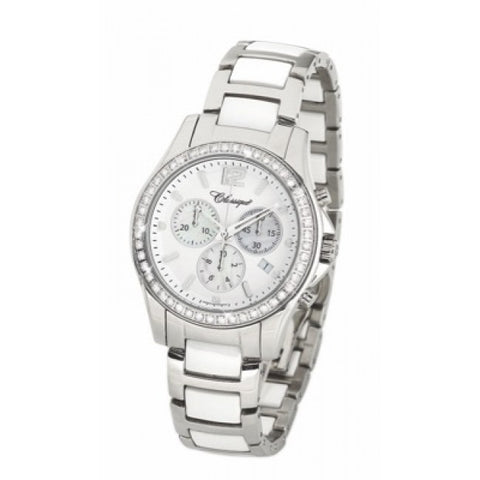 Ladies St/St Cz Chronograph White/Ceramic Swiss Quartz Bracelet Watch