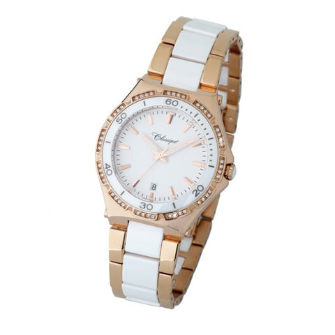 Ladies Rose/ Steel Cz Swizz Quartz White Ceramic Bracelet Watch