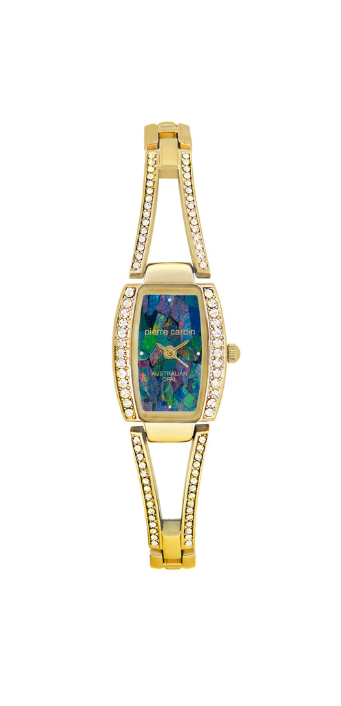 Pierre Cardin Ladies Gold Stone Set Opal Dial Watch