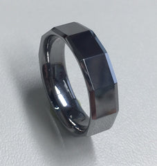 Tungsten Faceted Gents Ring