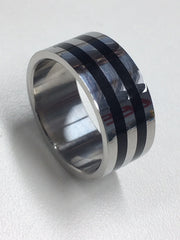 Stainless Steel And Black Ring