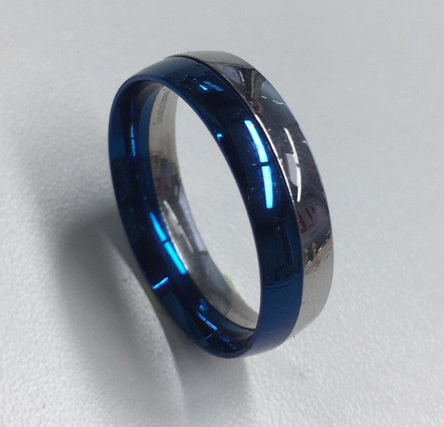 Stainless Steel And Blue Two Piece Ring