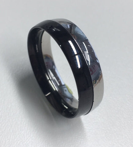 STAINLESS STEEL AND BLACK TWO PIECE RING