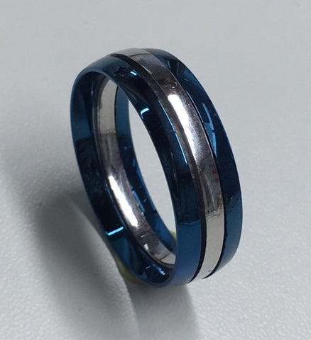 STAINLESS STEEL AND BLUE THREE PIECE GENTS RING
