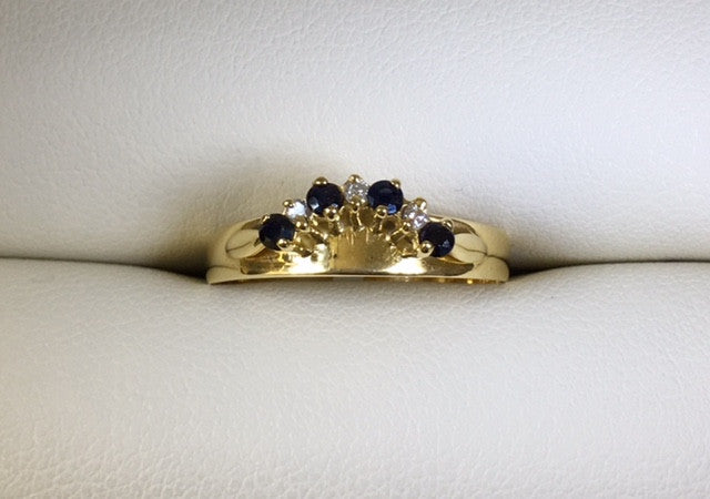 9Ct Yellow Gold Sapphire And Diamond Shaped Ring