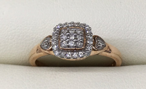 10CT ROSE GOLD DIAMOND ILLUSION SET ENGAGEMENT RING