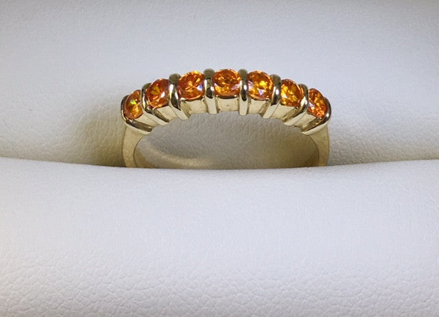 9CT YELLOW GOLD ORANGE CUBIC ZIRCONIA LADIES RING
