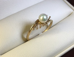9CT YELLOW GOLD LADIES SPRAY DESIGN CULTURED PEARL RING