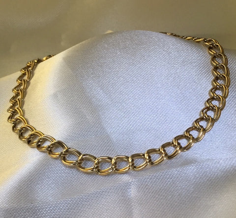 9CT YELLOW GOLD DOUBLE CURB LINK BRACELET