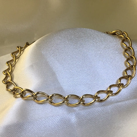 9CT YELLOW GOLD LARGE CURB LINK BRACELET