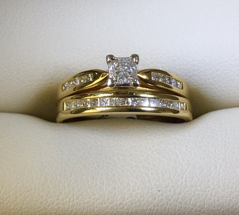 18CT YELLOW GOLD DIAMOND ENGAGEMENT RING BRIDAL SET