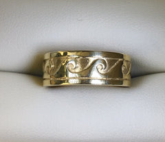9CT YELLOW GOLD WAVE RING