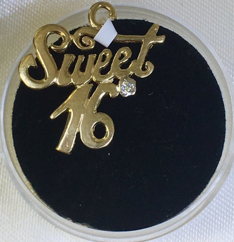 9Ct Yellow Gold Stone Set Sweet Sixteen Charm