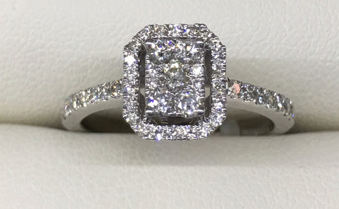 14CT WHITE GOLD EMERALD CUT ILLUSION SET DIAMOND HALO ENGAGEMENT RING