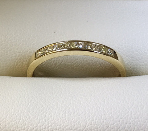 9CT YELLOW GOLD 10 X 1.75M PRINCESS CUT SQUARE DIAMONDS 1/3 CT T.D.W. ETERNITY RING