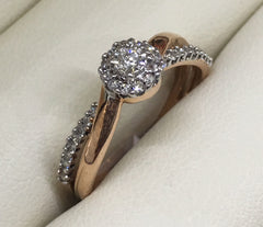 10CT ROSE GOLD ILLUSION CROSS OVER SHANK DIAMOND ENGAGEMENT RING