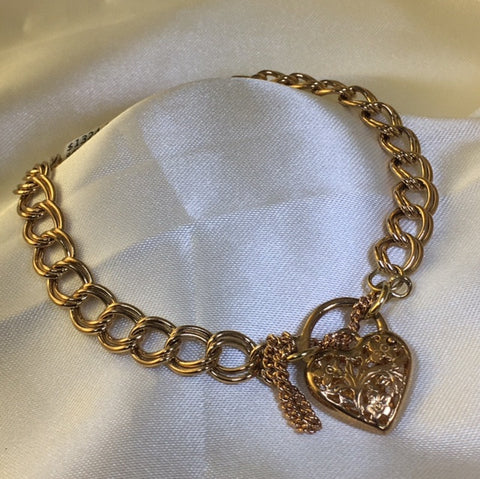 9Ct Rose Gold Double Curb Link Bracelet With Filigree Padlock