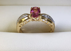 9Ct Yellow Gold Pink Tourmaline And Diamond Ring