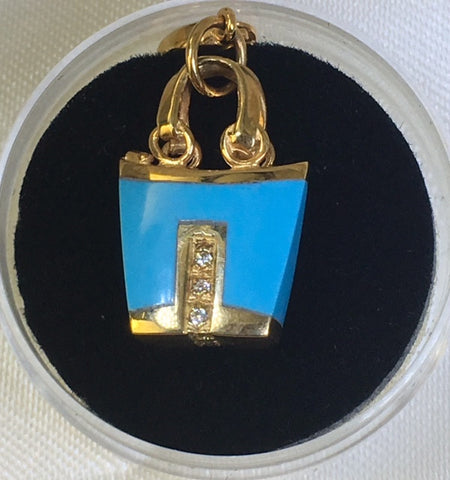 9Ct Yellow Gold Cubic Zirconia Turquoise Bag Charm