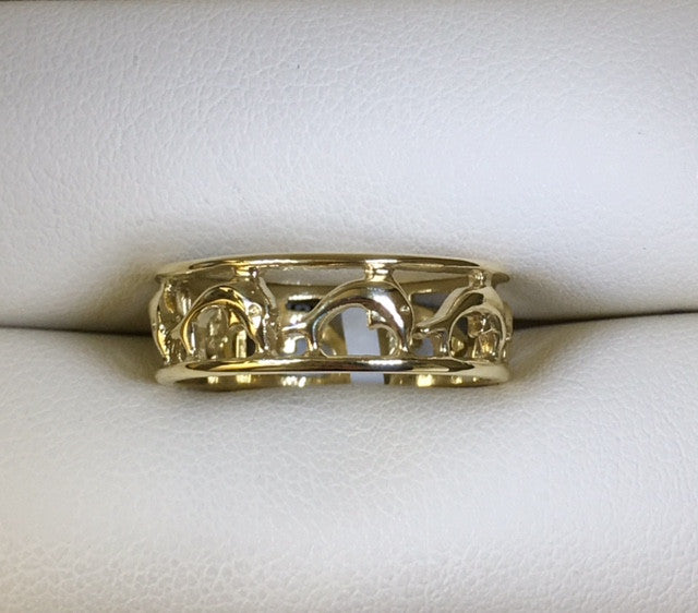 9Ct Yellow Gold Dolphins Cut Out Band Ring