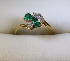 9Ct Yellow Gold Emerald And Diamond Small Cluster Ladies Ring