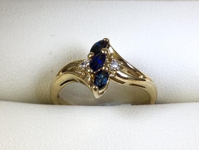 9Ct Yellow Gold Sapphire And Diamond Dress Ring