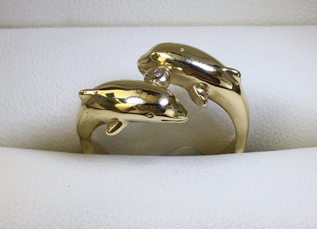9Ct Yellow Gold Double Dolphin Diamond Set Ring