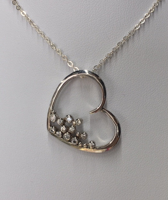 Sterling Silver Floating Heart Slider With Cubic Zirconia Pendant