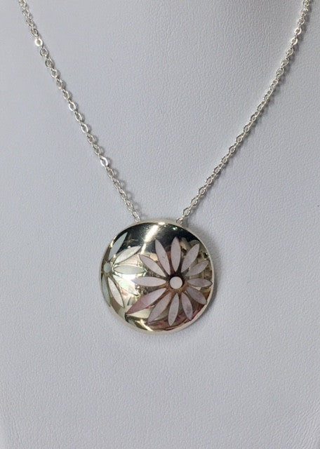 Sterling Silver Mother Of Pearl Flower Dome Pendant