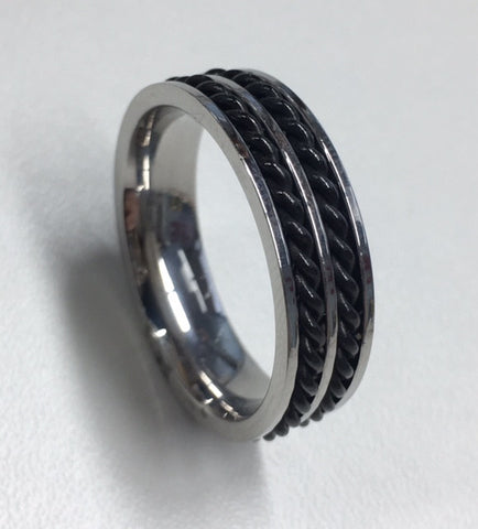 STAINLESS STEEL AND BLACK TWIST PATTERNED GENTS RING