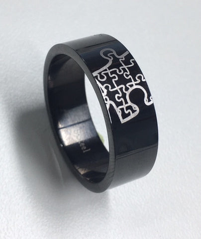 Stainless Steel Black Puzzle Piece Gents Ring