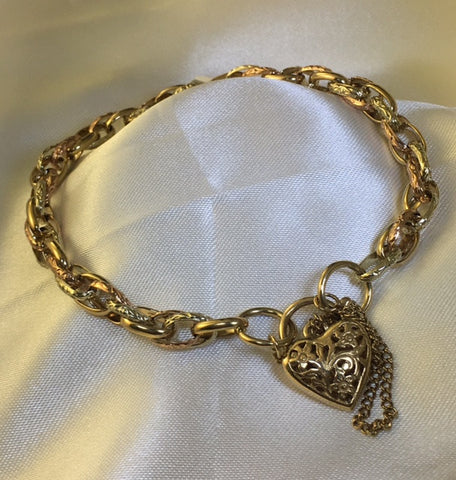 9CT TWO TONE BELCHER LINK BRACELET WITH FILIGREE PADLOCK