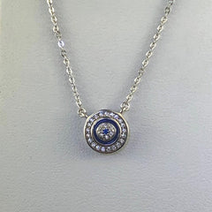 Sterling Silver Blue Enamel and Cubic Zirconia Circle Pendant