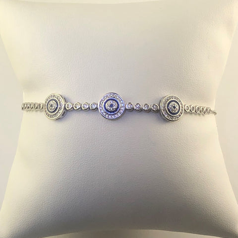 Sterling Silver Cubic Zirconia And Blue Enamel Circle Bracelet