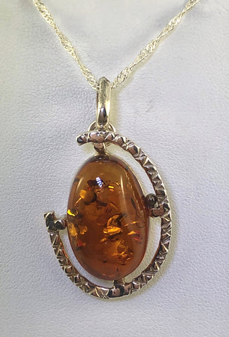 Sterling Silver Hammer loop Design Baltic Amber Pendant