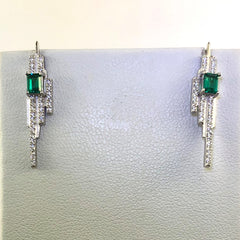 Sterling Silver Cubic Zirconia and Green Cubic Zirconia Set