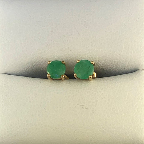 9ct Yellow Gold Natural Emerald Stud Earrings